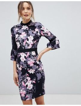 Paper Dolls Floral Flute Sleeve Dress by Paper Dolls