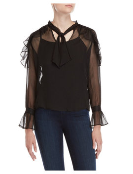 Tie Neck Ruffle Blouse by Buffalo David Bitton