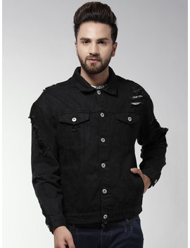 Forever 21 Men Black Solid Denim Jacket by Forever 21
