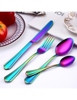 4 Pcs/Set Carved Stainless Steel Rainbow Cutlery Set Dinnerware Set Western Food Cutlery Tableware Dinnerware Set Kitchen Dining  by Ishowtienda