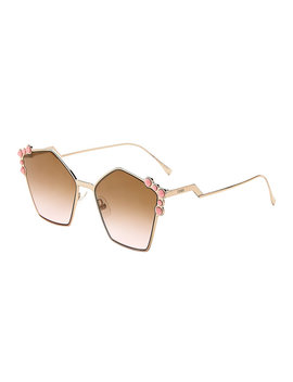 Ff 0261/S Gold Tone & Pink Geometric Sunglasses by Fendi