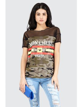 Mon Cherie Camo Mesh T Shirt by Select