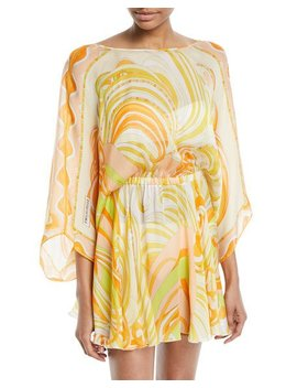 Baia Printed Silk Chiffon Mini Dress With Back Tie by Emilio Pucci