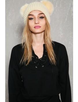 Sexy Beige Faux Fur Pom Pom Beanie by Ami Clubwear