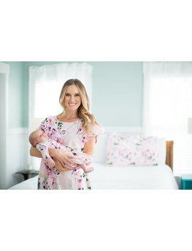3 Pc Set Amelia Floral Maternity Labor Delivery Hospital Gown Gownie & Matching Baby Gown And Newborn Hat Set, Mommy And Me , Hospital Bag by Baby Be Mine Maternity