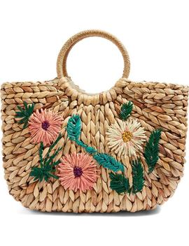 Beverly Floral Embroidered Straw Tote Bag by Topshop