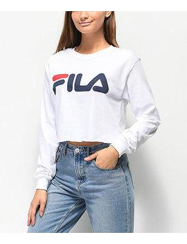 Fila Logo White Long Sleeve Crop T Shirt by Fila