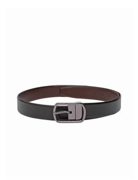 Teakwood Leathers Men Black & Brown Solid Reversible Belt by Teakwood Leathers