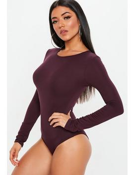 Burgundy Crew Neck Long Sleeve Bodysuit by Missguided