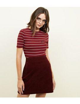 Burgundy Corduroy Mini Skirt by New Look