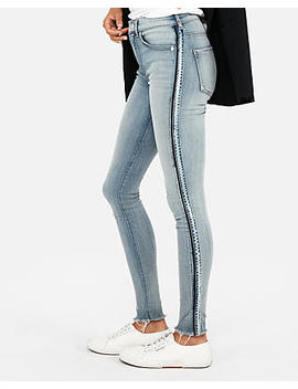 High Waisted Side Stripe Denim Perfect Stretch+ Jean Leggings by Express
