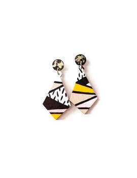 Geometric Stud Earrings   Unique Earrings   Dangle Stud Earrings   Statement Jewelry   Color Block Earrings   Geometric Earrings by A Tiny Little Triangle