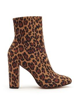 Coral Leopard Print Block Heel Booties by Generic
