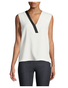 Lodwick V Neck Sleeveless Crepe Top by Neiman Marcus