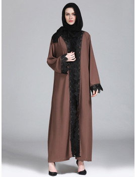 Scallop Lace Crochet Contrast Abaya by Shein