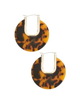 Tortoiseshell Cutout Hoop Earrings by Forever 21