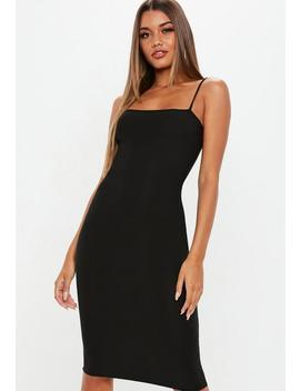 Black Strappy Cami Midi Dress by Missguided