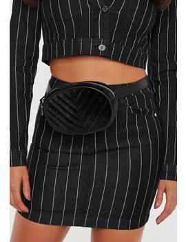 Black Velvet Quilted Oval Bumbag by Missguided
