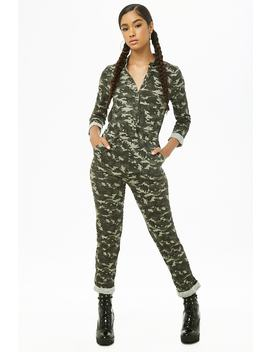Button Down Camo Jumpsuit by Forever 21