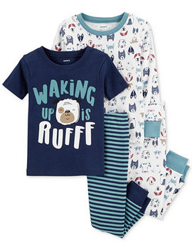 Baby Boys 4 Pc. Dog Print Cotton Pajama Set by Carter's