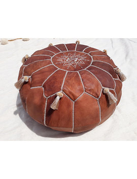 Moroccan Pouf With Tassels Handmade, Genuine Leather Footstool, Natural Tan Color Ottoman   Unstuffed by Saharian Souk