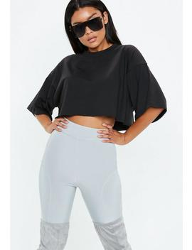 Black Drop Shoulder Oversized Cropped T Shirt by Missguided