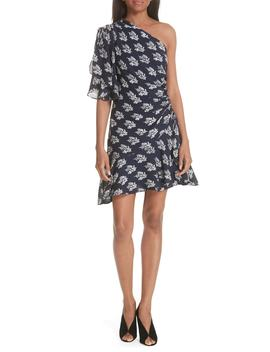 Misha Print One Shoulder Silk Dress by A.L.C.