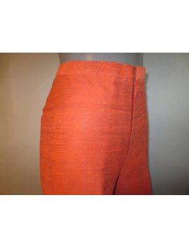"Vintage 1990's, Silk Women's Pants //  Max Nugus, Haute Couture // Orange Silk, Fully Lined, Front Zipper, Excellent...29 1/2"" Waist by Lindaowen"