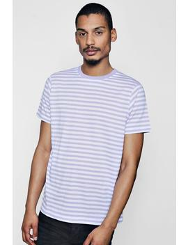 Yarn Dye Stripe Crew Neck Tee by Boohoo