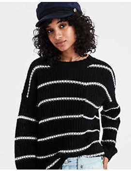 Ae Stripe Pocket Crew Neck Sweater by American Eagle Outfitters