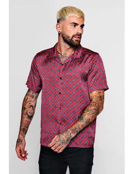 Tie Print Sateen Revere Short Sleeve Shirt by Boohoo