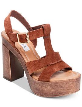 Women's Lucille Wooden Heel Platform Sandals by Steve Madden