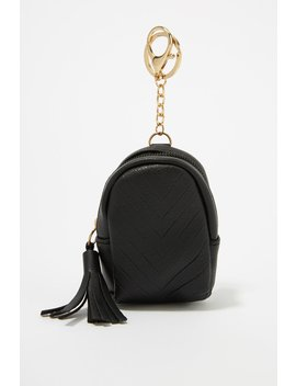 Ribbed Tassel Faux Leather Coin Purse Keychain by Urban Planet