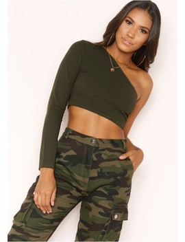 Jane Khaki One Shoulder Crop Top by Missy Empire