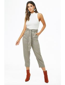 Tapered Plaid Pants by Forever 21
