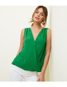 Green Wrap Front Sleeveless Top by New Look