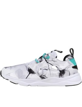 Reebok Classics Womens Furylite Graphic Trainers Floral White/Black/Timeless Teal by Mand M Direct