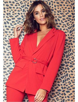 Erica Red Longline Belted Blazer by Missy Empire