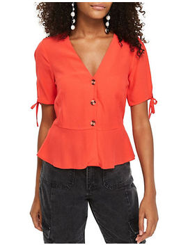 Tall Bryony Buttoned Tea Blouse by Topshop