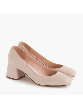 Block Heel Pumps In Leather by J.Crew