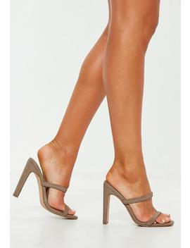 Taupe Sporty Double Strap Mules by Missguided