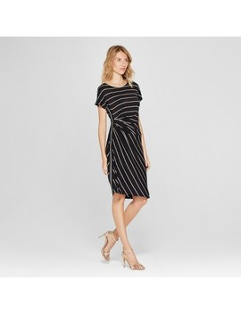 Women's Ruched Side T Shirt Dress   Spenser Jeremy   Black/White by Shop All Spenser Jeremy