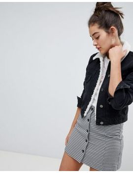 Asos Design Denim Shrunken Jacket With Borg Collar In Washed Black by Asos Design