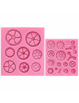 Musykrafties Steampunk Style Clock Watch Wheel Cogs Gears Candy Silicone Mould For Sugarcraft, Cake Decoration, Cupcake Topper, Fondant, Jewelry, Polymer Clay, Crafting Projects, 2 In Set by Musykrafties
