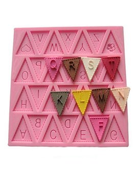 """Vivin Bunting Alphabet Letter Flag Silicone Decorating Chocolate Cake Mould Fondant Baking   Pink 4"""" X 4"""" by Vivin"""