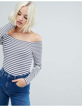 Asos Design Stripe Bardot Long Sleeve Body In Rib by Asos Design