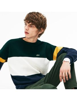 Men's Crew Neck Colorblock Flat Ribbed Cotton Sweater by Lacoste