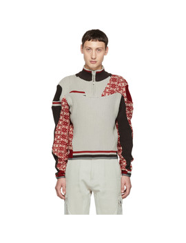 Multicolor Artisanal Arthur Zip Up Sweater by Gmbh