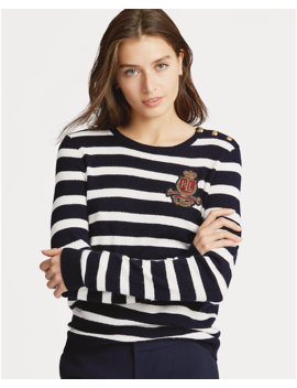 Bullion Patch Striped Sweater by Ralph Lauren