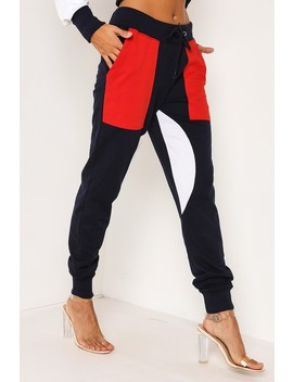 Navy Colour Block Cuff Joggers by Lasula